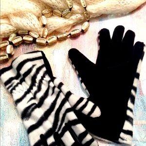 ZEBRA Print Velvet Gloves